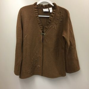 Alfred Dunner Brown Embroidered Wool Jacket PM